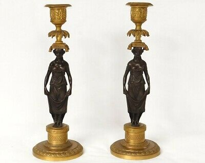 Paire bougeoirs bronze femme antique caryatides Empire candlesticks XIXème