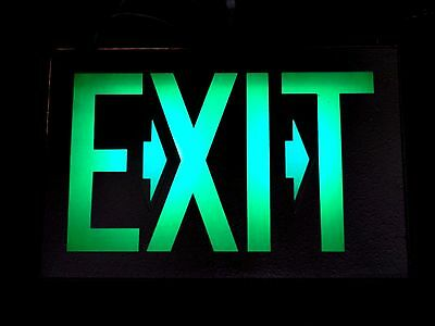 14040/ Vintage Metal EXIT SIGN ~  Green Lite Letters ~  Wired Light bar man cave