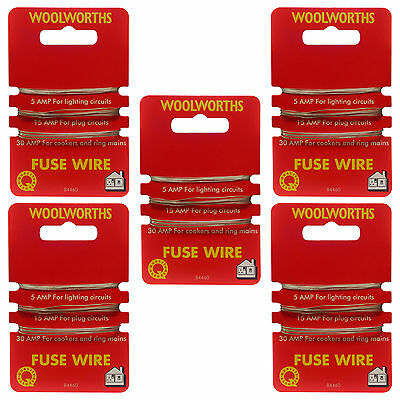 5 X Cards Consumer Fuse Wire 5Amp 15Amp 30Amp Carded Fusewire