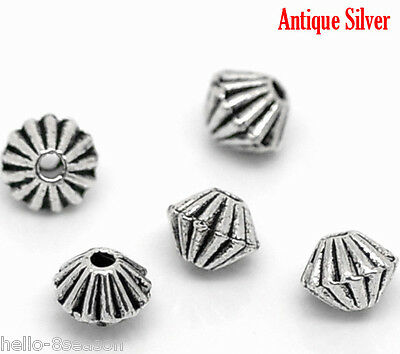 1000Pcs Hello Silver Tone HOTSELL Bicone Spacer Beads Findings