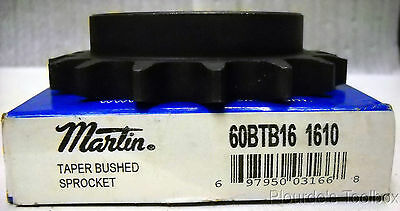 "New Martin Taper Bushed Roller Chain Sprocket, 0.75"" Pitch, 60BTB16 1610"