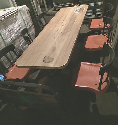 Vintage Cafeteria Seating 6 Plastic Chairs Connected Table Fast Food
