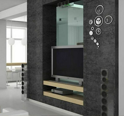design wand uhr wohnzimmer wanduhr spiegeleffekt wandtattoo deko b rouhr b ro eur 12 90. Black Bedroom Furniture Sets. Home Design Ideas