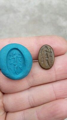 R Interesting old intaglio stone-seal depicting warrior with snake and weapon