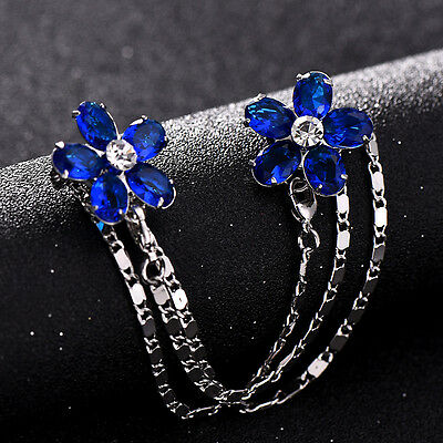 4 Colors Gold Tone Stuning CZ Flower Sweater Guard Clip Pin Brooch Gift