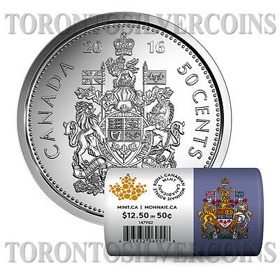 """Canada 2016 50-cent Special Wrap Circulation Roll """"25 Coins""""  - Pre-Sale"""