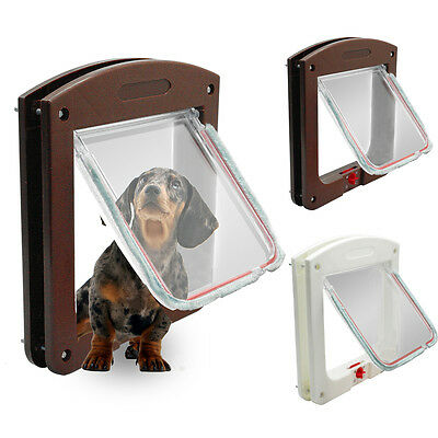 4 Way Lockable Pet Dog Door Small Pet Dog Lock Flap Tunnel White Brown Safety