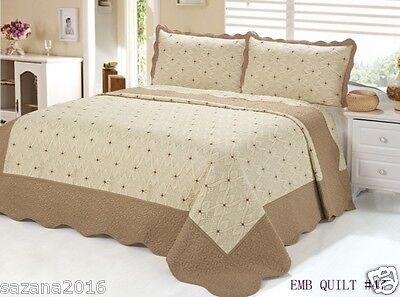 Quilt Queen Size 3 pc Embroidered Bed Set / Bedspread, Grain Brown
