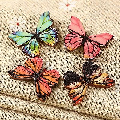 50 100pcs 2 Holes Mixed Butterfly Wooden Buttons Sewing Scrapbooking DIY Craft