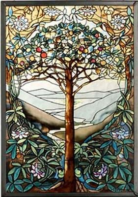 """Gold Crest Tree of Life GM1010 Stained Glass 0.37"""" x 9.25"""" x 13.25"""" NEW"""
