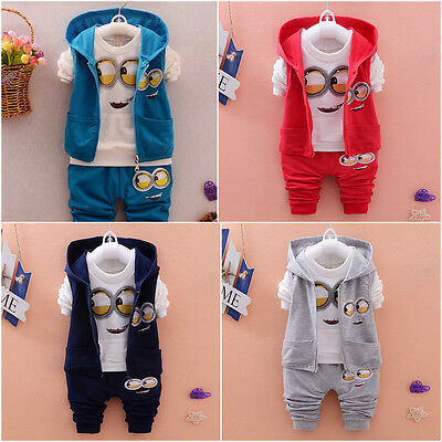 Despicable Me Minions Boys Cute Tracksuit 3 Pieces Sets (12Months-3Years left)