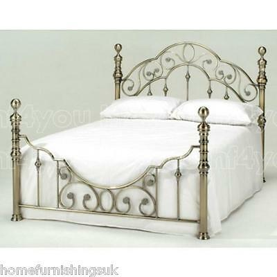 New - Harmony Beds Florence Antique Brass Metal Bed Frame - Free Delivery