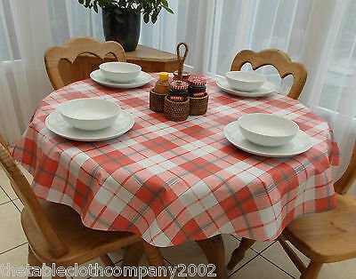 140cm Round Wipe Clean PVC Tablecloth - Red & Grey Check