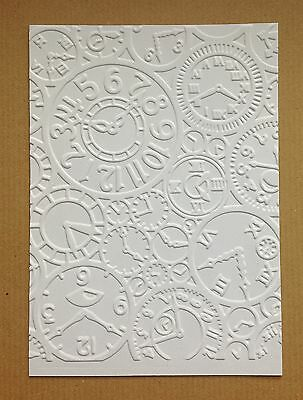 Steampunk Clocks Embossed Background Panels (Sizzix) - White