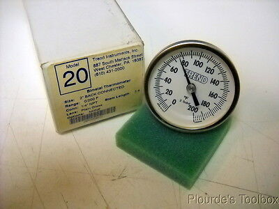 "New Trend Instruments 2"" Dial 0-200°F Bimetal Thermometer, 1/4"" NPT, Model 20"