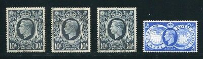 Gb King George 6Th 10 Shilling Varieties