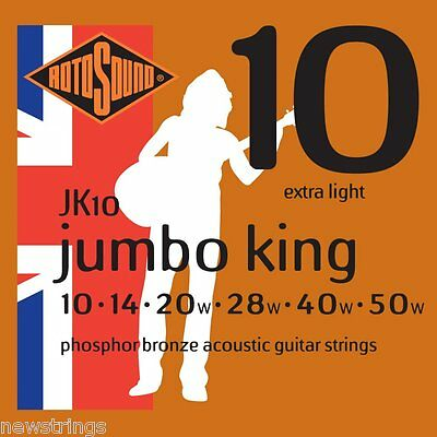 Rotosound Jumbo King JK10 Phos Bronze 10-50 extra LIGHT Acoustic Guitar Strings