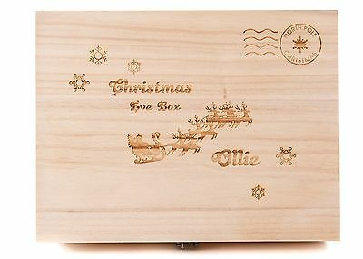 Personalised Engraved Wooden Christmas Eve Treat Box Santa