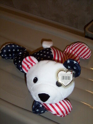 RETIRED TY PILLOW PALS SPARKLER STARS & STRIPES BEAR MINT with TAGS