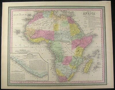 Africa continent vast Mts. of Moon 1850 fine old vintage antique map