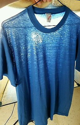 Vintage Paper Thin Blank Blue T Shirt Distressed Worn Trashed 80s L