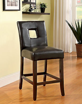 Set of 2 COUNTER HEIGHT Keyhole Back Chair Color Dark Walnut Leatherette Wood