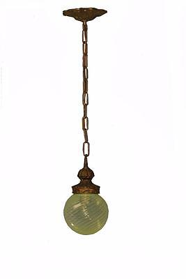 Antique Brass Tone Single Socket Porch/Entry Chandelier Art Glass Vaseline Shade