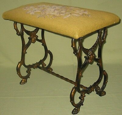 Antique Art Nouveau Style Iron Vanity Piano Bench Needlepoint Floral Seat