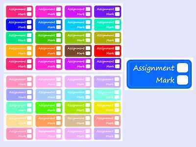 Student Assignment  Planner / Calender Stickers, 2 Sheets, 40 Kiss Cut Stickers
