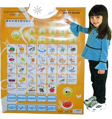 Russian Alphabet Letters Numbers Sound Wall Interactive Talking Poster Yellow