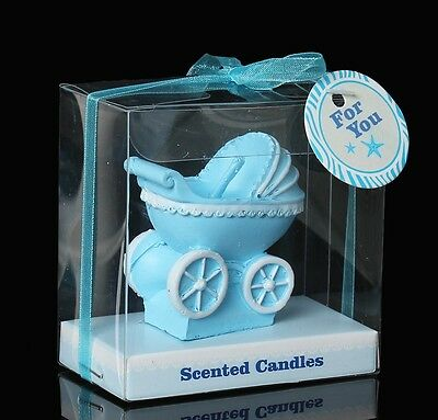 Baby Pram Candle Blue in Gift Box Baby Shower Christening Favour Cake Topper