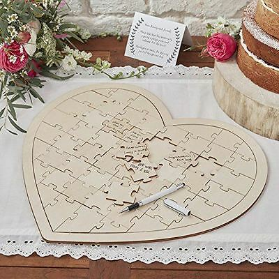 New Ginger Ray Boho Wooden Heart Shaped Jigsaw Puzzle Wedding Guestbook