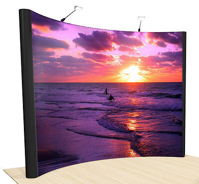 10ft STRAIGHT POPUP TRADE SHOW BOOTH EXHIBIT DISPLAY NEW WITH PODIUM CASE
