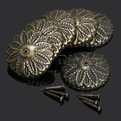 50Pcs Vintage Bronze Floral Upholstery Nail Tack Studs Pins Furniture Decorative