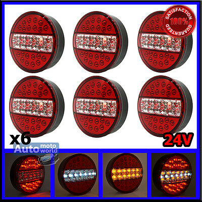 6x 24V LED TAIL LIGHTS HAMBURGER REAR LAMPS LORRY TRUCK TRAILER SCANIA VOLVO