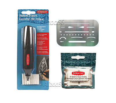 DERWENT ELECTRIC BATTERY OPERATED ERASER + 30 REFILL & 1x ERASER SHIELD TEMPLATE