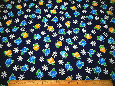Floral Fabric By The Yard Yellow Blue Roses White Floral On Navy