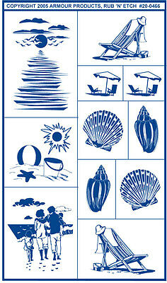 Armour Rub 'n' Etch Glass Etching Stencil  ~ Sea Shore Beach Designs