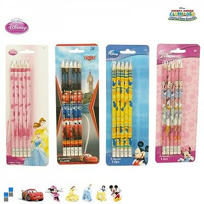 Disney Bleistift 5tl.mit Radiergummi Cars,Mickey Mouse,Minnie und Princess NEU
