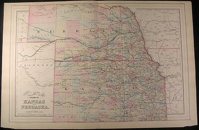 Kansas & Nebraska 1884 fine old vintage antique map