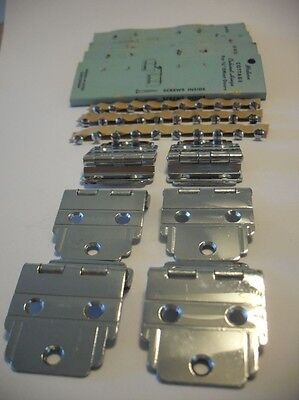 "Vintage NOS CHROME Plated Steel Cabinet HINGES For 3/8"" Offset Doors Three Pair"
