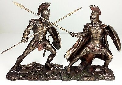 ACHILLES vs HECTOR Battle of Troy GREEK MYTHOLOGY Sculpture Statue Bronze Color