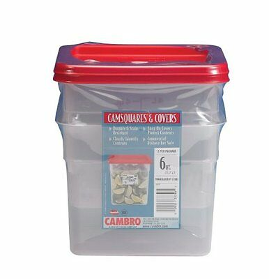 Cambro Set of 2 Square Food Storage Containers with Lids, 6 Quart