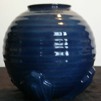 Antique English Art Deco Pottery Cobalt Blue Vase