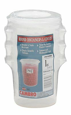 Cambro RFS1PPSW3190 1-Quart Round Food-Storage Container with Lid, Set of 3