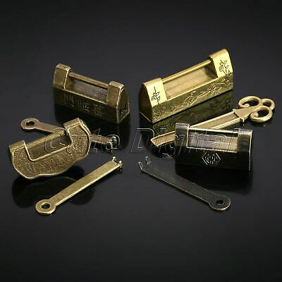 Chinese Old Style Vintage Antique Jewelry Chest Box Decorative Lock Padlock Key