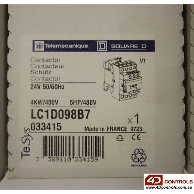 Telemecanique LC1D098B7 Contactor 24V Coil - New Surplus Sealed