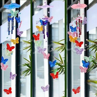Butterfly Creative Crystal 4 Metal Tubes Windchime Wind Chime Living Home Decor