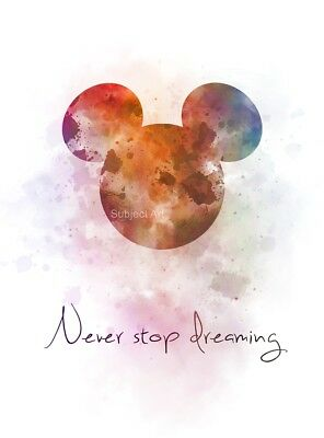 ART PRINT Never Stop Dreaming Quote, Mickey Mouse Nursery, Disney, Wall Art Gift