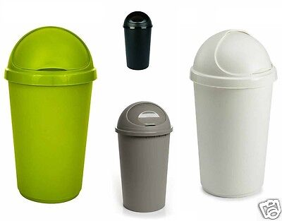 Plastic Bullet Bin 50 / 30 Litre Rubbish Waste Bins Kitchen Dustbin Flap Lid New